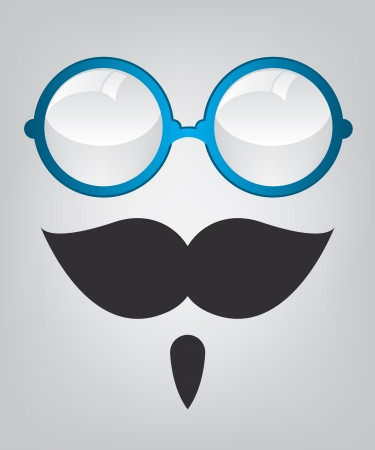 Funny mask blue sunglasses and mustache