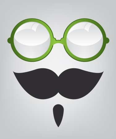 Funny mask green sunglasses and mustache Stock Vector - 16535678