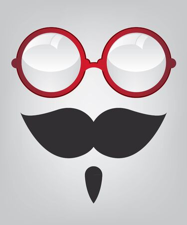 Funny mask red sunglasses and mustache Stock Vector - 16535679