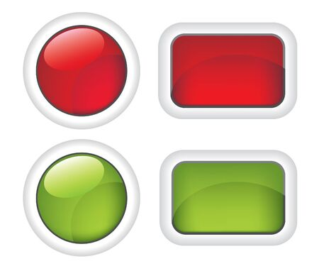 White buttons red and green  illustration Vector