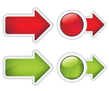 Arrows  buttons red and green sign Vector