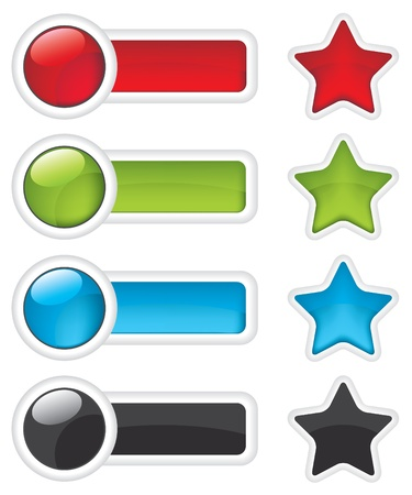 Web buttons and stars icon Vector