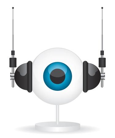 Eye camera and headphones illustration