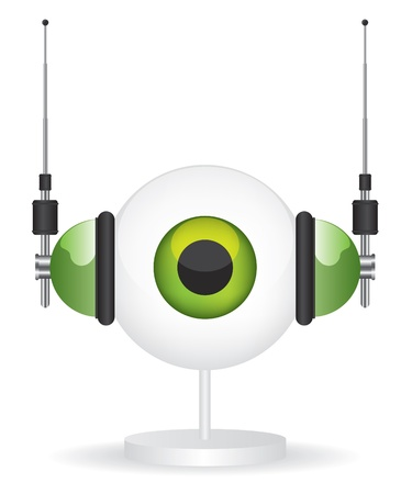 Eye green camera and headphones illustration Vector