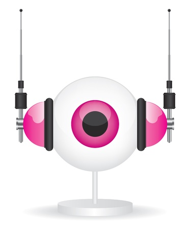 Eye pink camera and headphones illustration Vector