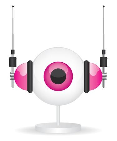 robot head: Eye pink camera and headphones illustration