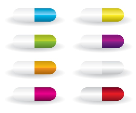 blue pills: Pills different color illustration Illustration