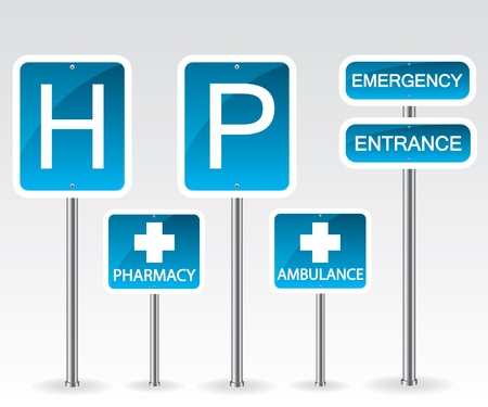 emergency room: Hospital road sign Illustration