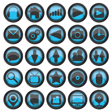 Set of web glass icons Vector