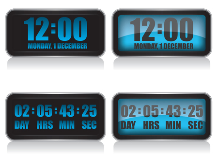 Digital clock and countdown illustration Vector