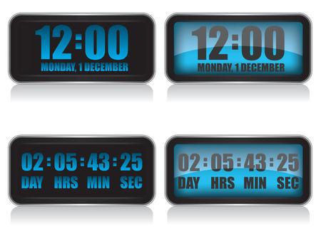 digital clock: Digital clock and countdown illustration