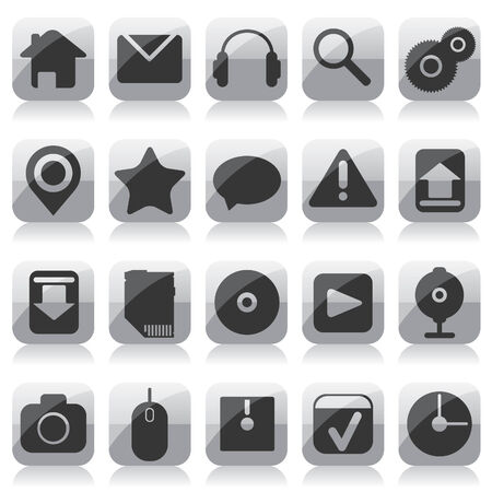 Web glass icons Vector
