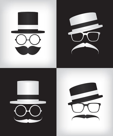 disguised: Hipster and gentleman illustration Illustration
