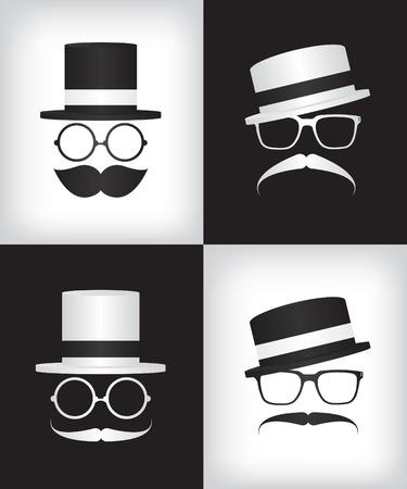 disfrazados: Hipster y caballero ilustraci�n Vectores