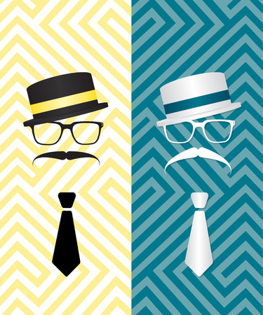 englishman: Hipster black and white illustration