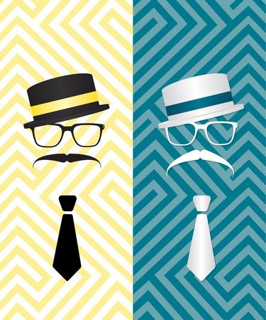 englishman: Hipster black and white illustration