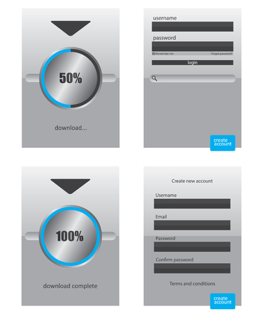 Round progress bar and register log in web element Vector