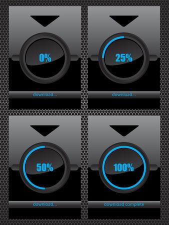 pre loader: Black glass download progress bar