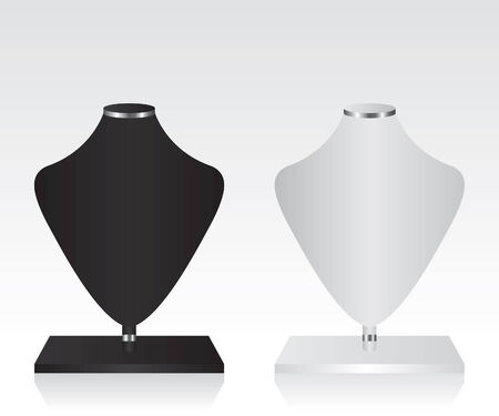 Black and white mannequin jewelry stand Vector