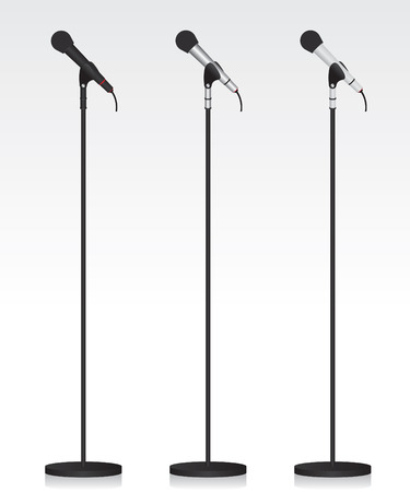 microphone stand: Three different microphone