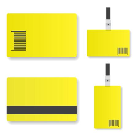 expositor: Ilustración en blanco de la tarjeta de identificación de color amarillo