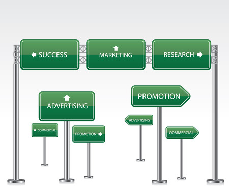 Marketing green road signs