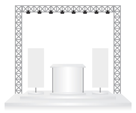 trade show: Trade exhibition stand and flags on white background