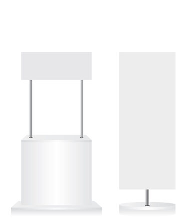 Promotion counter and flag on white background Vector
