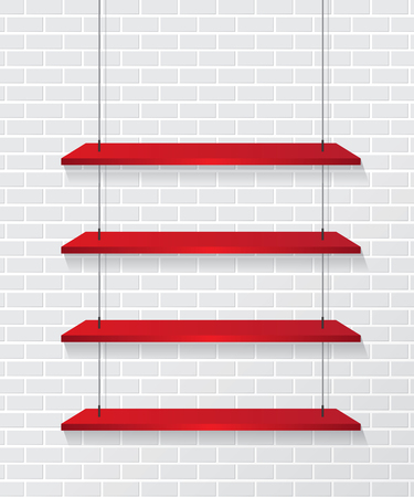 Brick wall and red shelves Vector