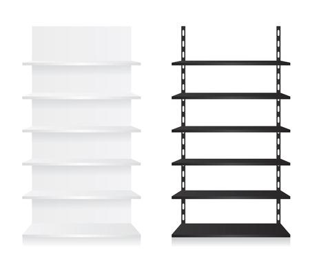 Empty shop shelves black and white