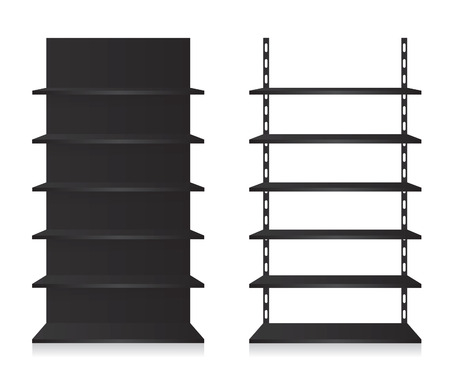 Empty shop shelves black Vector