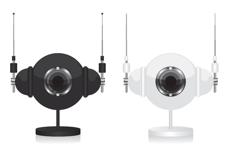 Black and white eye camera and headphones Vector