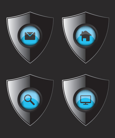 Shield web flat icons Vector