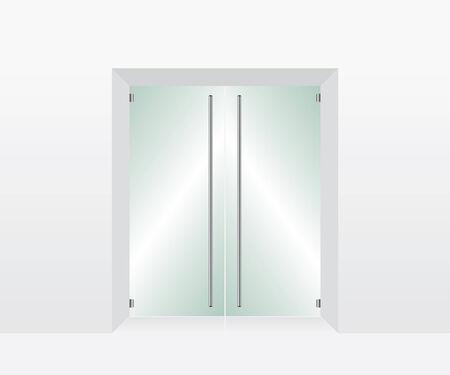 forepart: Glass transparent door