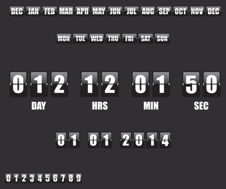countdown: Countdown Timer and Date on black background