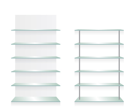 Empty shop glass shelves Illustration