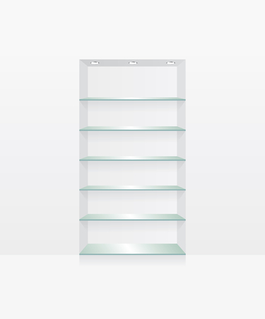 retail display: Empty glass shelves on white wall