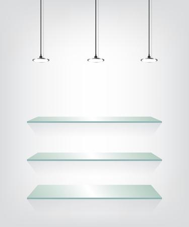 Glass shelves with spot light Vector