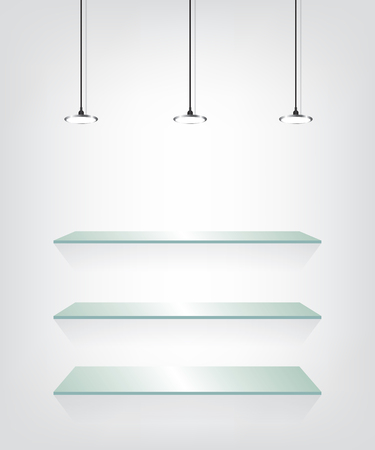 Glass shelves with spot light Ilustracja