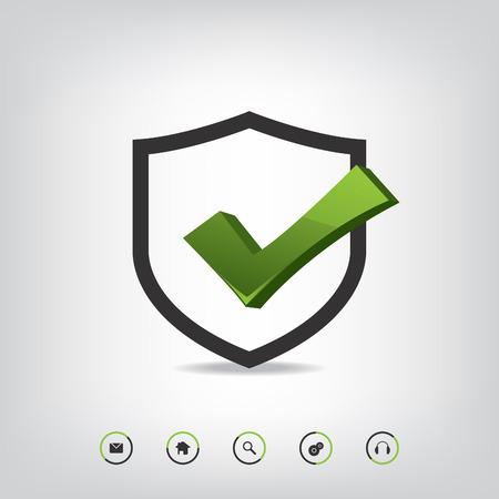 Shield check mark and web icons Vector