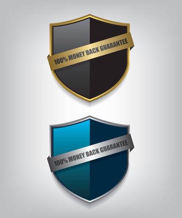 blue shield: Shield guarantee badge illustration
