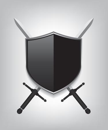 방패: Swords and black shield