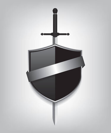 medieval sword: Sword and black shield