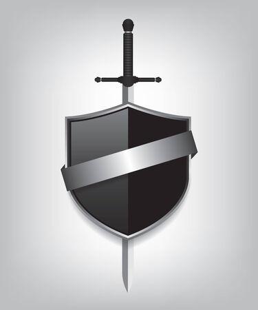 shiny shield: Sword and black shield