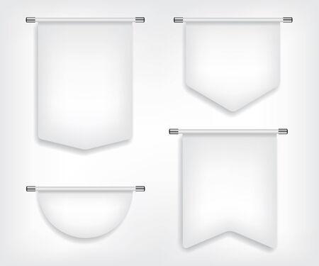 different shapes: Flag white banner different shapes illustration