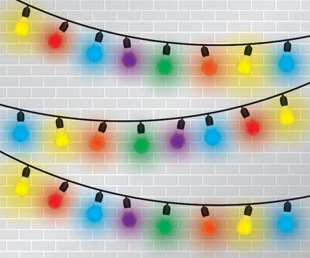Light Bulbs Collection on brick wall Vector
