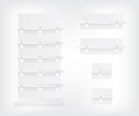 advertising wobbler: Empty white shop shelves and wobbler Illustration