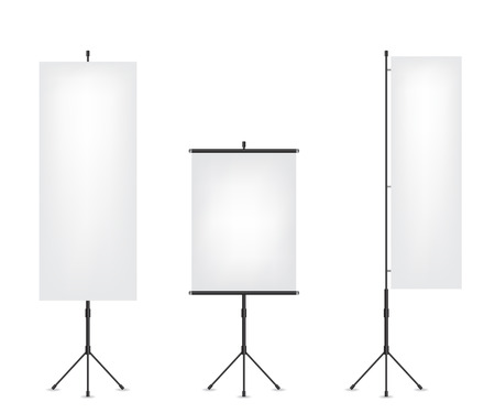 tripod projector: Roll up flag banner and projection screen Illustration