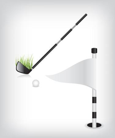 golf stick: Palo de golf y la bandera
