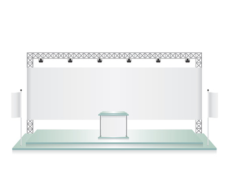exhibition hall: Trade exhibition stand glass and white flag banner Illustration
